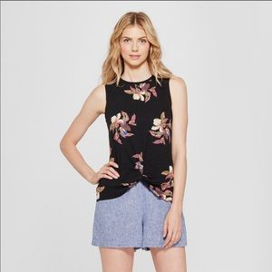 A New Day Womens Floral Print Twist Front Tank